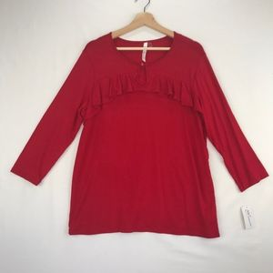 NY Collection 3/4 Sleeve Red Knit Top Ruffled Trim